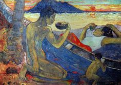 Paul Gauguin - Post Impressionism - Tahiti - La pirogue - 1896
