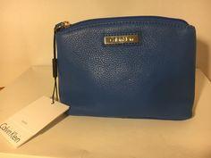 Calvin Klein NWT Makeup Cosmetic Bag Case Cornflower  Leather Zip Top MSRP $78 #CalvinKlein