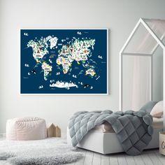 word map, animals on word map, map of world, eläinmaailma, kartta, maailmankartta, lastenhuone, nursery room, lapset, kids Word Map, Room Posters, Nursery Room, Kids Room, Animals, Design, Home Decor, Animales, Decoration Home