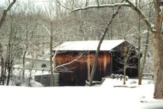 Jediah Hill Covered Bridge, Mt. Healthy, OH. Built in 1850 ~ Winter