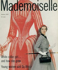 Fashion magazine Mademoiselle in January of 1952. Shows young women how to dress to impress during the 50's.