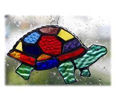 Suncatcher Stained Glass Tortoise Handmade Rainbow 016 Turtle