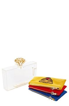 $1,095, Clear Clutch: Charlotte Olympia Cheer Pandora Clutch Transparent. Sold by Nordstrom. Click for more info: http://lookastic.com/women/shop_items/51001/redirect