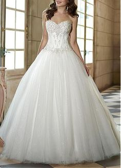 Spectacular Satin & Tulle & Sequin Net & Satin Ball Gown Strapless Sweetheart Natural Waist Wedding Dress