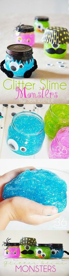 Halloween Glitter Slime Monsters