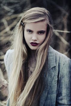 autumn lipstick. love the school girl hair too.