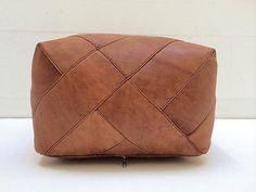 Square Leather Moroccan Pouf Ottoman Natural Brown Leather Ottoman Moroccan