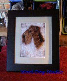 Airedale felted head study from Wool Dog Studio