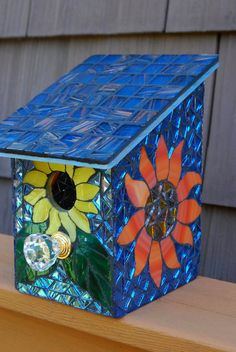 Bird House Stained Glass Mosaic Daisy Flower by NatureUnderGlass, $65.00