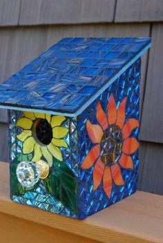 Bird House Stained Glass Mosaic Daisy Flower by NatureUnderGlass, $65.00