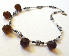 Smokey Faceted Quartz Briolette Drops Funky Necklace by NativeCraftCanada on Etsy