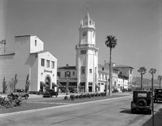 LOS ANGELES / WESTWOOD:  (ca. 1930)#^ – View looking northeast showing the beautiful Holmby Building with its clock tower at the corner of Westwood Boulevard and Weyburn Avenue.  Water and Power Associates.