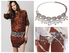 Ethnic Gypsy Wide Hippie Boho body chain harness belly dance body