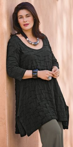 Kasbah black jersey textured top from Box2