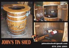 Wine barrel conversion Tin Shed, How To Remove Rust, Plasma Cutting, Coffee Cans, Liquor Cabinet, Repurposed, Barrel, Restoration, Great Gifts