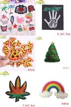 [Visit to Buy] 1PCS Rainbow Letter Flower Patch Pizza Cheap Embroidered Cute Patches Kids Iron On Cartoon Patches For Clothes Jeans Accessories #Advertisement