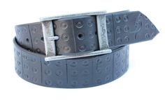 High quality leather, Black Leather Belt width 1,7 inch , Hand Tooled belt with handmade silver color buckle. High quality Black leather belt, hand tooled with handmade silver color buckle all length available A belt that i would like to have in my closet.For the music and belt lovers among use made the design from a piece of hardware of hi-fi stereo.This particular belt is black but can come in any color you desire.The brown /blue one is my favourite because it's amazing color it goes on...