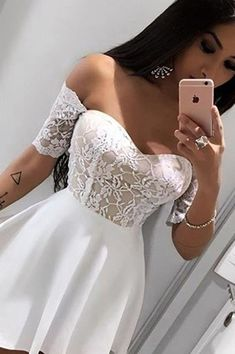 A-Line Prom Dresses,Off-The-Shoulder Homecoming Dresses,Short Sleeves Dresses,White Homecoming #Short Homecoming Dress#HomecomingDresses#Short PromDresses#Short CocktailDresses#HomecomingDresses