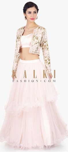 Featuring powder pink net skirt with velvet top layer. Comes with a matching strap crop top with deep back in hook and eye opening . Crop Top Designs, Blouse Designs, Dress Designs, Full Sleeve Crop Top, Full Sleeves, Indian Designer Outfits, Designer Dresses, Wedding Dress Sleeves, Dresses With Sleeves