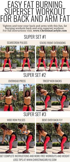 Upper Body Workout Routine for Women  Burn your back, bra strap, and arm fat fast with this easy fat burning upper body superset workout routine for women.  #Fitness #workout Christina Carlyle https://www.christinacarlyle.com/upper-body-workout-routine-for-women-2/