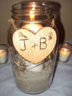 DIY Simple Rustic Centerpiece :  wedding candles centerpiece diy mason jar rustic simple DSC04724