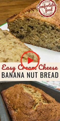 Cream Cheese Banana Nut Bread Banana Bread Recipe With Cream Cheese, Recipes Using Cream Cheese, Cream Cheese Bread, Cream Cheese Desserts, Vegan Banana Bread, Easy Banana Bread, Nut Recipes, Easy Bread Recipes, Banana Bread Recipes