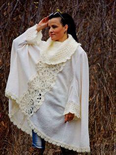 Купить Пальто-пончо изнатуральной шерсти и мохера (№24) - белый, пончо вязаное, пончо крючком