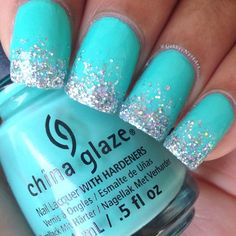 My favorite color is aqua so I really love these nails. The glitter is super pretty too!