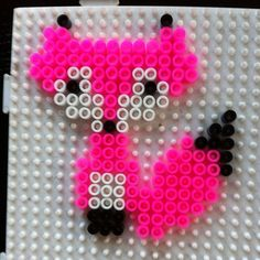 Pink fox hama beads by jmpinry