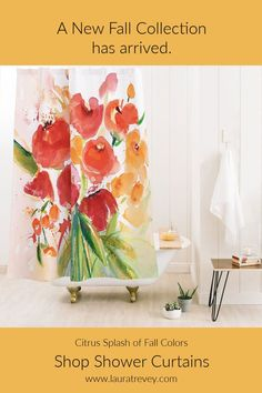Add a pop of color to your bathroom with this bright and cheerful floral shower curtain designed by Laura Trevey. Floral Shower Curtains, Fall Collections, Beautiful Bathrooms, Bathroom Accessories, Color Pop, Fabric, Prints, Bright, Design