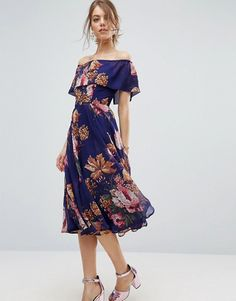 ASOS - NAVY floral Bardot neck, chiffon dress with hem below knees. Matching pink metallic dancing wide pumps. Safe to walk or dance in! Beautiful. ||| M.ASOS.COM/ASOS |||