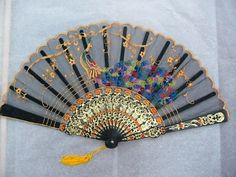Lace Fan Hand Held -Blue and Black