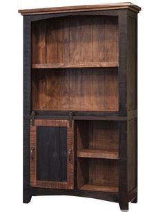 Veracruz   Les Meubles Zip International Barn Door Tables, Wood Barn Door, Barn Doors, Sliding Door Bookcase, Cool Bookshelves, Bookcases, Rustic Bookcase, Amish Furniture, Repurposed Furniture