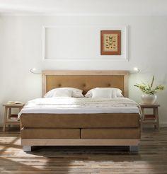 urgemütliches Boxspringbett Merano | Die elegante Ausführung in weißer Wildeiche in Kombination mit einem warmen Braunton lässt jeden Traum verblassen. #MoebelLETZ