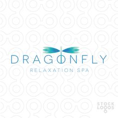 Logo for sale: clean, modern and sleek logo of a simple dragonfly with glossy vibrant aqua wings.