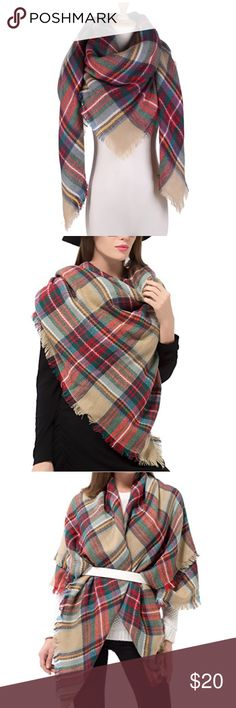 Plaid Blanket Scarf NWOT, never worn scarf. Soft Cashmere-like Acrylic. Scarf/Shawl Size: 57 inch *57 inch. Dimore Accessories Scarves & Wraps