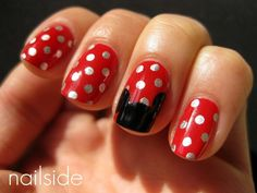 Red + Silver Polka Dot + Black mickey mouse nails :) too cute! Totally doing these for Disney World!