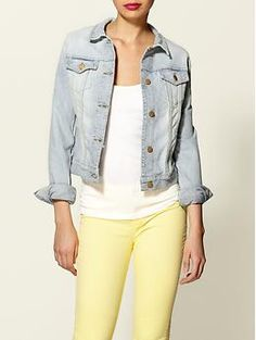 spring purchases. pale yellow skinny jeans and light denim jack...check!