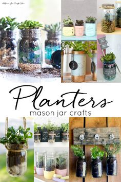 Mason jar planters. How to make mason jar planters. Succulents in mason jars. Herbs in mason jars. Hanging mason jar planters. Herb garden in mason jars.
