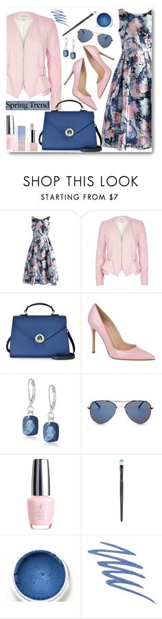 """Spring Trend: Floral Dress & Jacket"" by brendariley-1 ❤ liked on Polyvore featuring Chicwish, River Island, Armani Jeans, Gianvito Rossi, Napier, BCBGMAXAZRIA, OPI, Topshop, Jane Iredale and Sephora Collection"