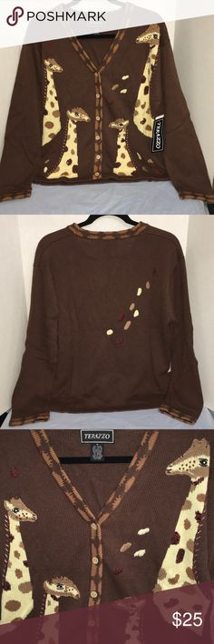 Women's sweater New with tag an adorable V-neck cardigan with multiple giraffes embellished with brown sequins. Comes from a non smoking home. Will make a great Christmas gift! Terazzo Sweaters Cardigans