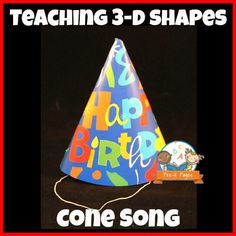 Simple Cone Song for Teaching Shapes in Preschool or Kindergarten 2d Shapes Kindergarten, Teaching Shapes, Kindergarten Lesson Plans, Kindergarten Classroom, Kindergarten Activities, Preschool Activities, Kindergarten Newsletter, Math Poems, Shape Songs