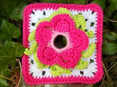 """""""Granny Square"""" made with the third Paradise Flower from free pattern!"""