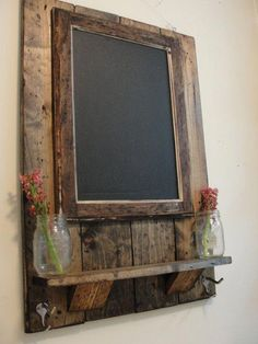 Framed Magnetic Chalkboard with Shelf and Coat/Key/Hat Hooks - could use pallet wood Magnetic Chalkboard, Framed Chalkboard, Chalkboard Ideas, Reclaimed Wood Projects, Diy Pallet Projects, Recycling Projects, Recycled Wood, Pallet Ideas To Sell, Old Wood Projects