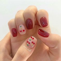 Make an original manicure for Valentine's Day - My Nails Cute Acrylic Nails, Cute Nails, Pretty Nails, Minimalist Nails, Nail Swag, Aycrlic Nails, Nail Manicure, Bling Nails, Fruit Nail Art