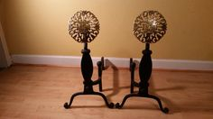 Virginia Metalcrafters Cast Iron & Brass Andirons  by andantiques