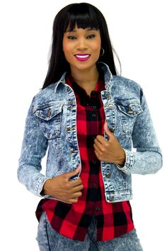 Acid Wash Denim Jacket | Danice Stores An old-school acid wash denim jacket with a modern fit that will be a nice piece in your wardrobe. Classic features like a basic collar, dual chest flap pockets, long sleeves.