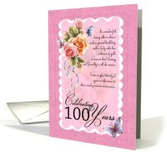 100 years old greeting card - roses and butterflies card