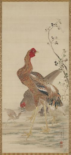 Rooster, Hen, and Chicks Hanging scroll