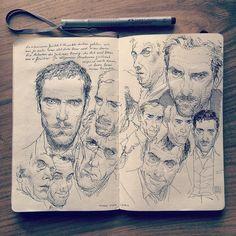 by jaredmuralt — Portrait sketches in my #Moleskine #sketchbook In my…